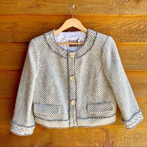 Juicy Couture White and Grey Knit Beaded Jacket